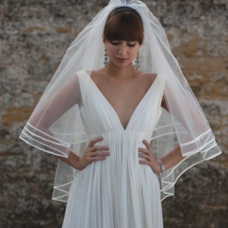Joyce Jackson Barbados Double Row Satin Edge Veil