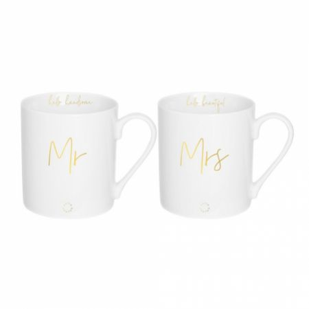 Katie Loxton Mr and Mrs Porcelain Mug Gift Set