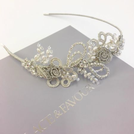 Leona Vintage Inspired Silver Lace and Crystal Side Headpiece