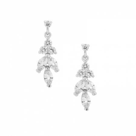 Lila Dainty Cubic Zirconia Drop Earrings (Silver)