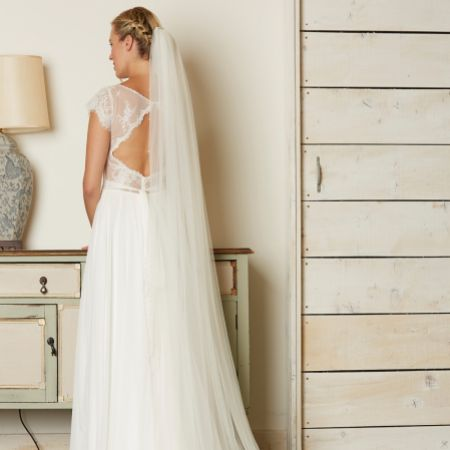 Linzi Jay Single Tier Soft Tulle Chapel Veil with Diamante and Pearl Edge V727