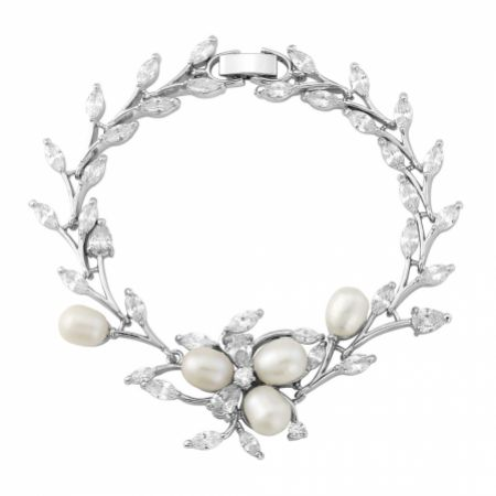 Lola Freshwater Pearl and Crystal Leaves Wedding Bracelet (Silver)