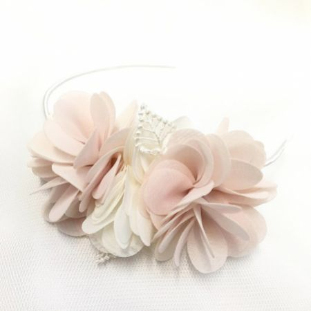 Madelyn Blush and Ivory Flowers Side Headband