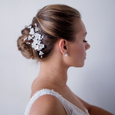 Magnolia Porcelain Flowers and Crystal Leaves Wedding Hair Clip