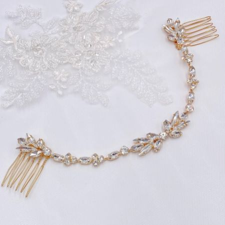 Melody Gold Draped Crystal Wedding Headpiece