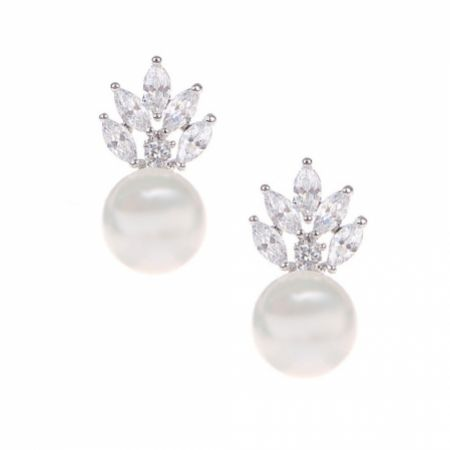 Mila Pearl Sparkle Stud Wedding Earrings