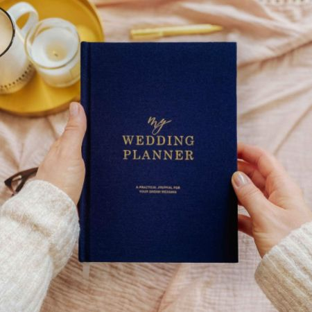 Navy Cotton Linen Wedding Planner Book with Gilded Edges
