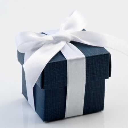 Navy Silk Favour Box - Pack of 10