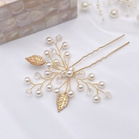 October Gold Leaves and Pearl Wedding Hair Pin