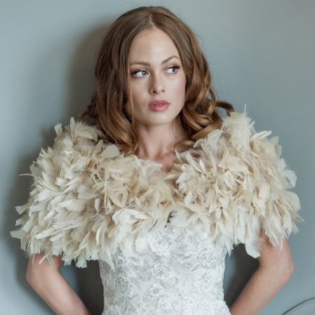 Olivia Champagne Ruffle Feather Bridal Stole