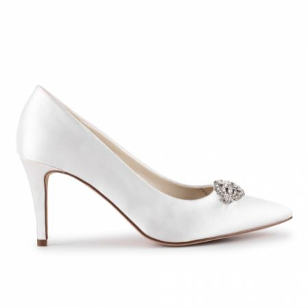 Paradox London Godiva Ivory Satin Mid Heel Crystal Pointed Courts