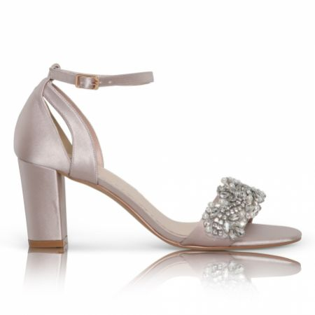 Perfect Bridal Alexa Taupe Satin Embellished Block Heel Sandals