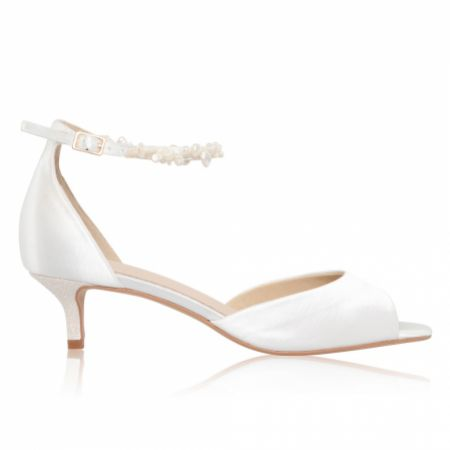 Perfect Bridal Amber Dyeable Ivory Satin Low Heel Keshi Pearl Ankle Strap Sandals