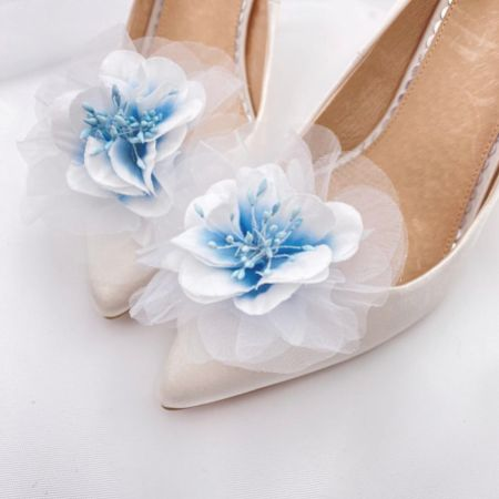 Perfect Bridal Apple Blue Flower Shoe Clips