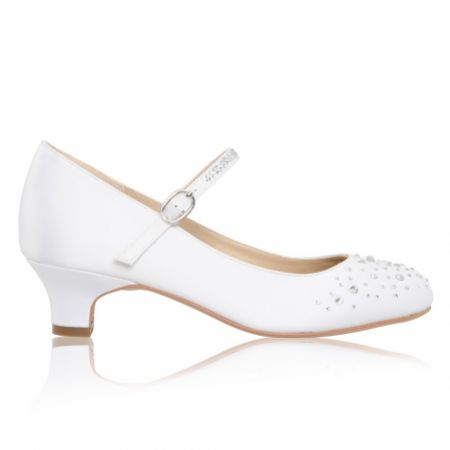 Perfect Bridal Ava White Satin and Crystal Kids Bar Shoes