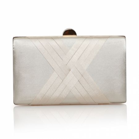 Perfect Bridal Bay Champagne Criss Cross Satin Clutch Bag