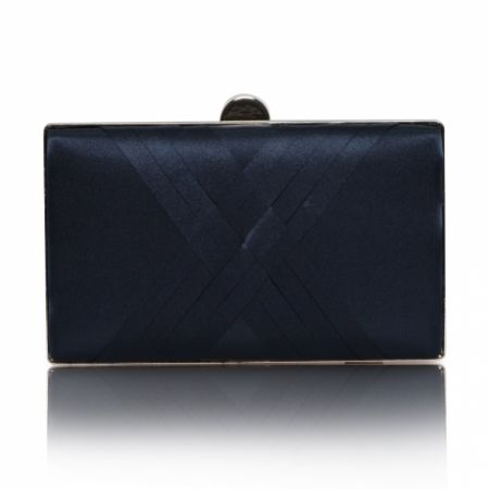 Perfect Bridal Bay Navy Criss Cross Satin Clutch Bag