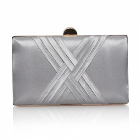 Perfect Bridal Bay Silver Criss Cross Satin Clutch Bag