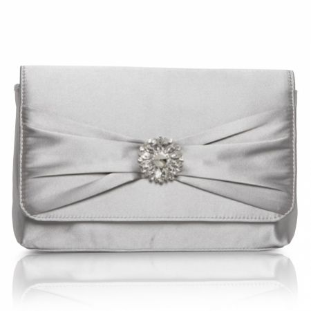 Perfect Bridal Cerise Silver Satin Clutch Bag with Crystal Trim