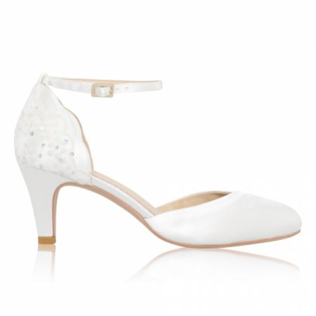 Perfect Bridal Clara Dyeable Ivory Satin and Sequin Lace Ankle Strap Court Shoes