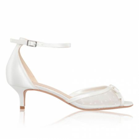 Perfect Bridal Eadie Ivory Polka Dot Mesh Kitten Heel Sandals