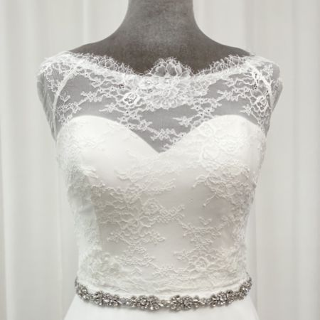 Perfect Bridal Elodie Slim Crystal Embellished Floral Dress Belt