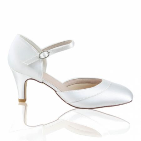 Perfect Bridal Elsa Dyeable Ivory Satin Ankle Strap Wedding Shoes (Wide Fit)