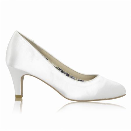 Perfect Bridal Erica Dyeable Ivory Satin Mid Heel Court Shoes (Wide Fit)