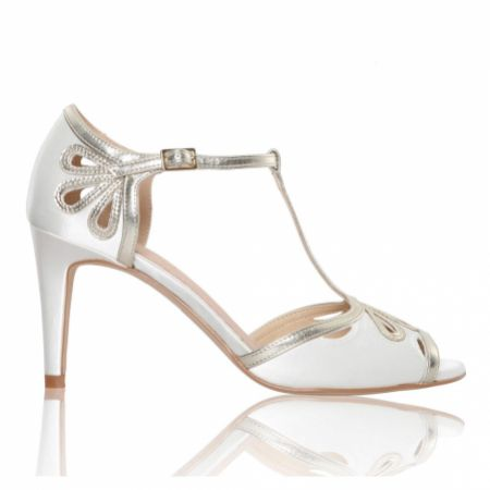 Perfect Bridal Esme Dyeable Ivory Satin and Gold Shimmer T-Bar Shoes
