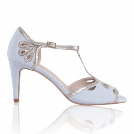 Perfect Bridal Esme Pearl Grey Suede and Gold Shimmer T-Bar Shoes