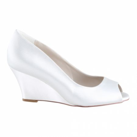 Perfect Bridal Flora Dyeable Ivory Satin Peep Toe Wedges