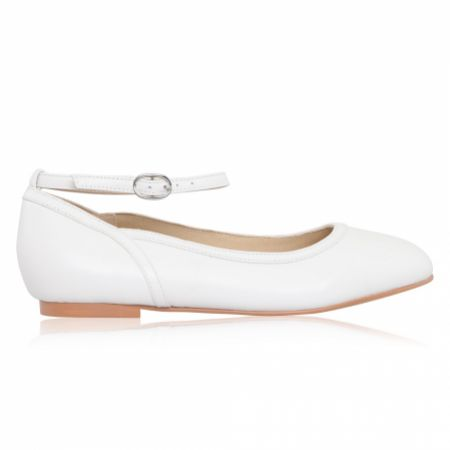 Perfect Bridal Hanna White Leather Ankle Strap Ballet Pumps