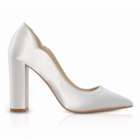 Perfect Bridal Havana Dyeable Ivory Satin and Glitter Block Heel Court Shoes