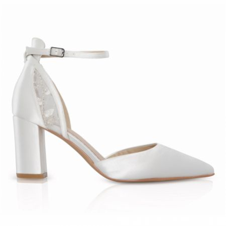 Perfect Bridal Indi Dyeable Ivory Satin Block Heel Ankle Strap Court Shoes