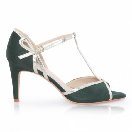 Perfect Bridal Joanna Forest Green Suede and Gold T-Bar Shoes