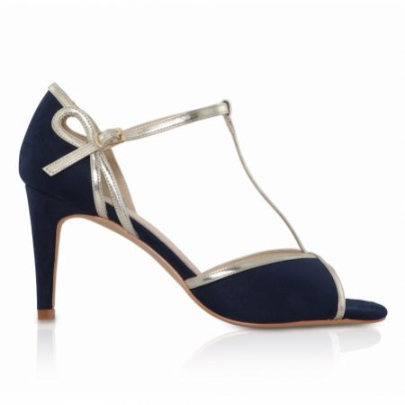 Perfect Bridal Joanna Navy Suede and Gold T-Bar Shoes