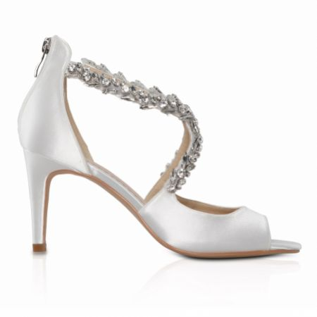 Perfect Bridal Katelyn Dyeable Ivory Satin Crystal Wedding Sandals