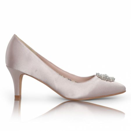 Perfect Bridal Katrin Taupe Satin Mid Heel Court Shoes with Crystal Trim