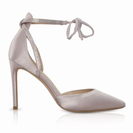 Perfect Bridal Kimi Taupe Satin Tie Up Court Shoes with Diamante Detail