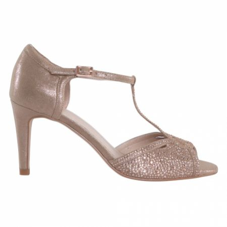 Perfect Bridal Luna Rose Gold Shimmer Crystal Embellished T-Bar Sandals