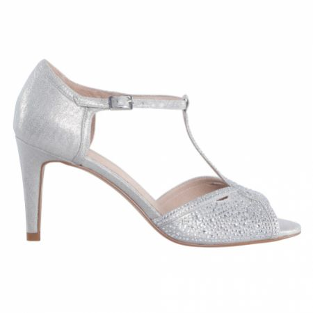 Perfect Bridal Luna Silver Shimmer Crystal Embellished T-Bar Sandals