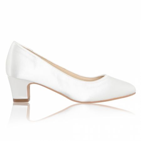 Perfect Bridal Melanie Dyeable Ivory Satin Block Heel Court Shoes