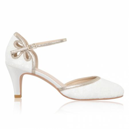 Perfect Bridal Nina Dyeable Ivory Lace and Gold Ankle Strap Shoes