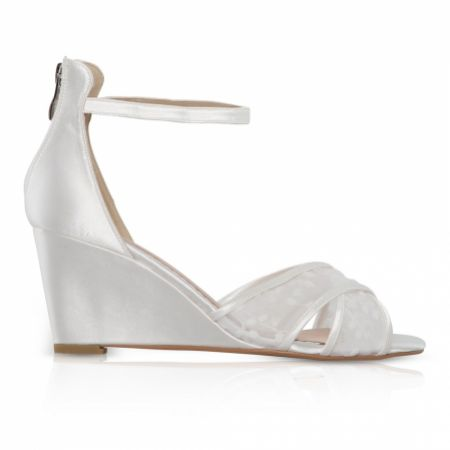Perfect Bridal Orla Dyeable Ivory Satin and Lace Bridal Wedges