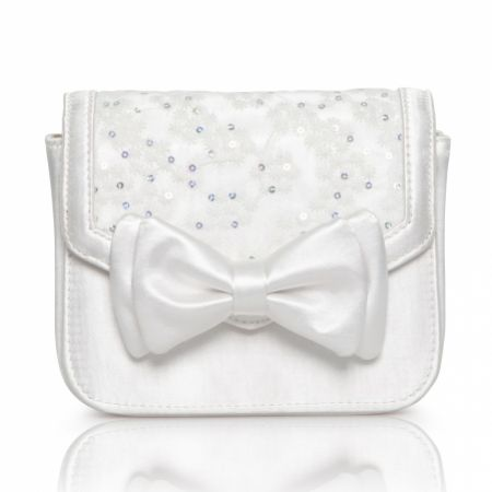 Perfect Bridal Pepper Dyeable Ivory Satin and Sequin Lace Clutch Bag with Bow Detail