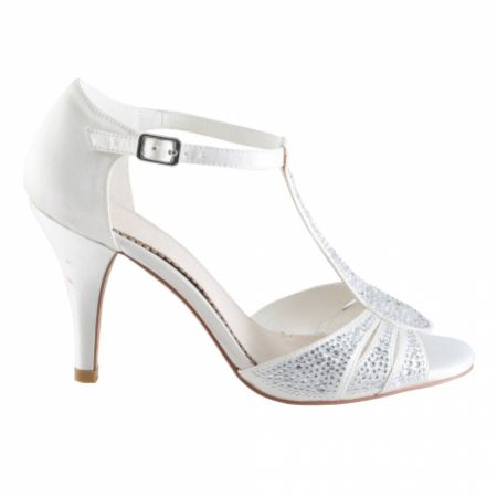 Perfect Bridal Perla Ivory Crystal Embellished T-Bar Sandals
