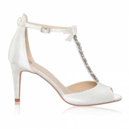 Perfect Bridal Phoenix Dyeable Ivory Satin Crystal T-Bar Sandals with Bow Detail (Wide Fit)