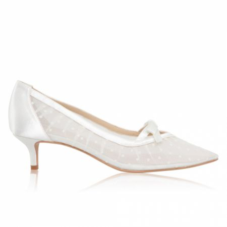 Perfect Bridal Poppy Ivory Polka Dot Mesh Pointed Kitten Heels
