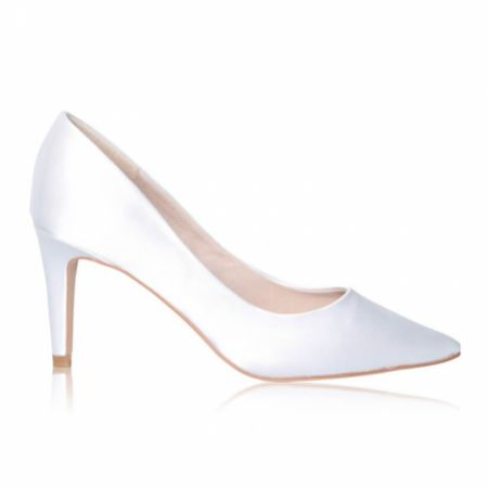 Perfect Bridal Rachel Dyeable Ivory Satin Mid Heel Pointed Court Shoes
