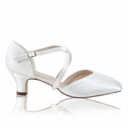 Perfect Bridal Renate Dyeable Ivory Satin Low Heel Courts with Crossover Straps (Wide Fit)